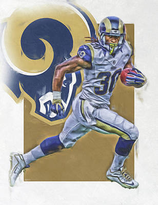 Football Mixed Media - Todd Gurley Los Angeles Rams Oil Art by Joe Hamilton
