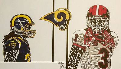 Drawing - Todd Gurley Reflections  by Jeremiah Colley