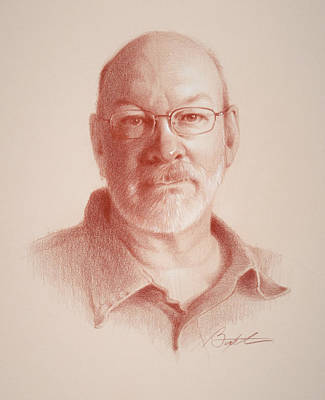 Colored Pencil Portrait Drawing - Todd, Self Portrait by Todd Baxter
