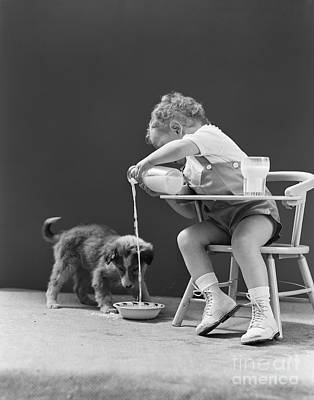 Pet Care Photograph - Toddler Pouring Milk For Puppy, C.1940s by H. Armstrong Roberts/ClassicStock
