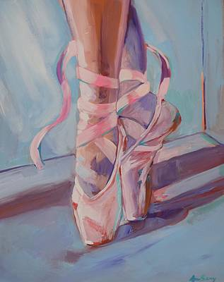 Child Dancers Painting - Toe Shoes by Anne Seay