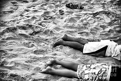Black By Playing Photograph - Toes In The Sand by John Rizzuto