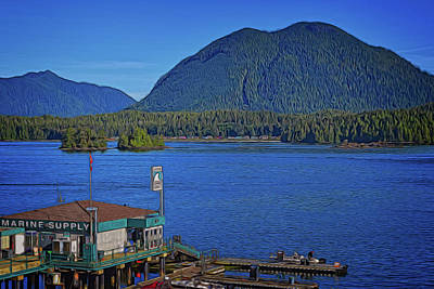 Digital Art - Tofino Harbor, Opitsat, And Mears Island by Richard Farrington