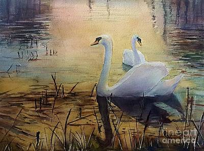 Swans Sunset Painting - Together At Sunset by Patricia Pushaw