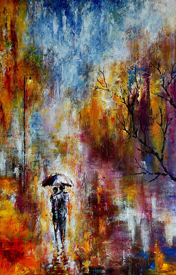 White House Mixed Media - Together In The Autumn Rain by Indira Mukherji