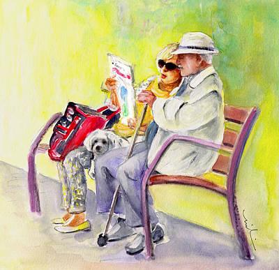 Elderly People Painting - Together Old In La Herradura In Spain by Miki De Goodaboom