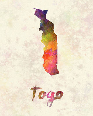 Togo Painting - Togo In Watercolor by Pablo Romero
