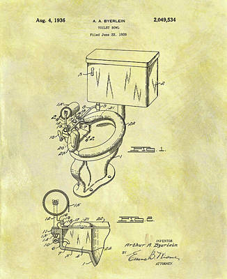 Plumber Drawing - Toilet Bowl Patent by Dan Sproul
