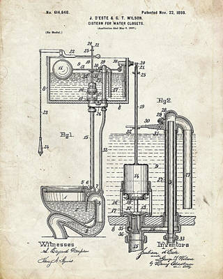 Water Closets Digital Art - Toilet Cistern Patent by Igor Drondin