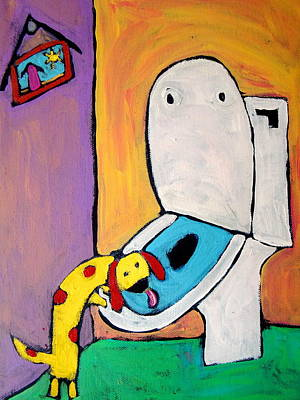 Weiner Dog Painting - Toilet Dog by Carla MacDiarmid