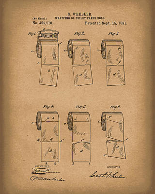 Drawing - Toilet Paper Patent Art Brown by Prior Art Design