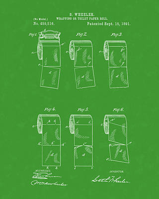 Drawing - Toilet Paper Patent Art Green by Prior Art Design
