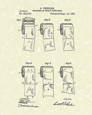 Drawing - Toilet Paper Patent Art Parchment by Prior Art Design