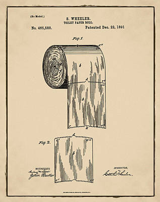 Shit Wall Art - Photograph - Toilet Paper Roll Patent 1891 Sepia by Bill Cannon