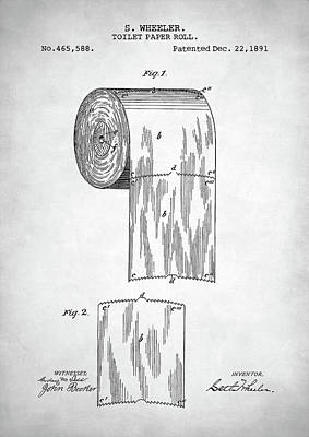 Digital Art - Toilet Paper Roll Patent by Taylan Apukovska