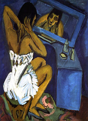 Portrait Painting - Toilet, Woman In Front Of Mirror by Ernst Ludwig Kirchner