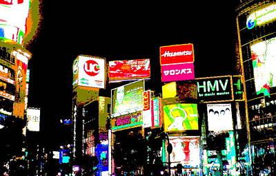 Shibuya Mixed Media - Tokyo By Night  by Enki Art