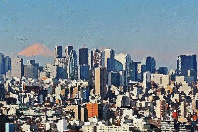 Painting - Tokyo City Aerial by PixBreak Art