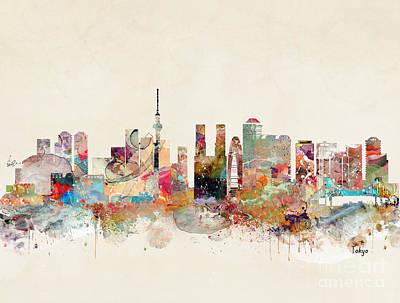 Painting - Tokyo City Skyline by Bleu Bri