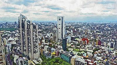 Painting - Tokyo City View by PixBreak Art