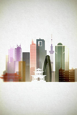 Tokyo Skyline Painting - Tokyo  Cityscape by Dim Dom