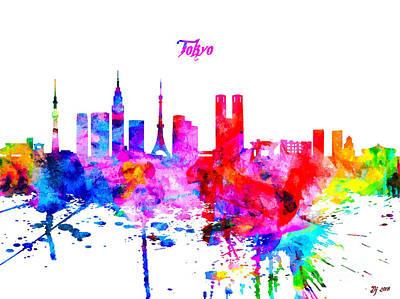 Tokyo Skyline Mixed Media - Tokyo Colorful Skyline by Daniel Janda