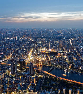 Arial View Photograph - Tokyo In Action by Eddie Cervantes