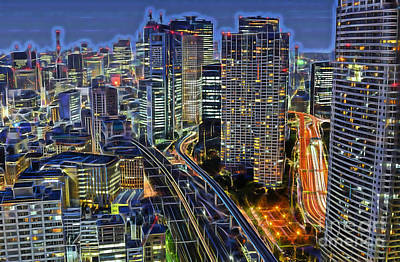 Mixed Media - Tokyo Japan Skyline by Marvin Blaine