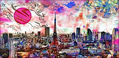 Tokyo Skyline Mixed Media - Tokyo Metropolis by Daniel Janda