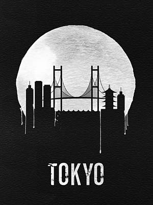 Asia Wall Art - Digital Art - Tokyo Skyline Black by Naxart Studio