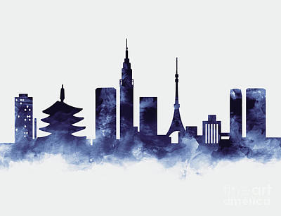 Tokyo Skyline Mixed Media - Tokyo Skyline by Monn Print