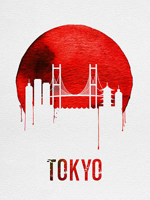Asia Wall Art - Digital Art - Tokyo Skyline Red by Naxart Studio