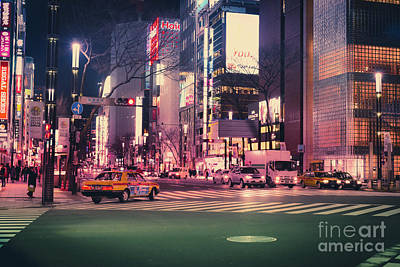 Tokyo Street At Night, Japan 2 Art Print