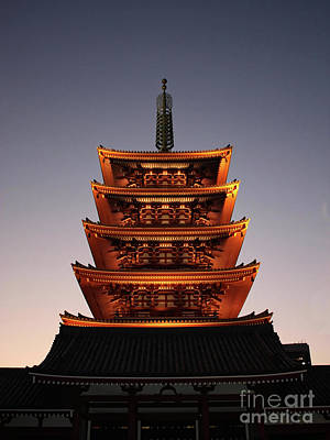 Photograph - Tokyo Temple Lights At Dusk by Carol Groenen