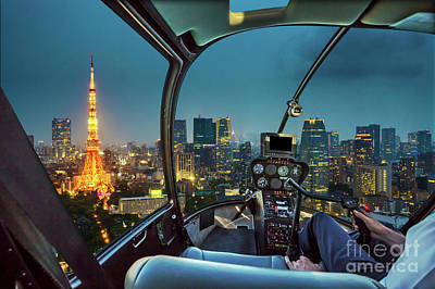 Photograph - Tokyo Tower Helicopter by Benny Marty