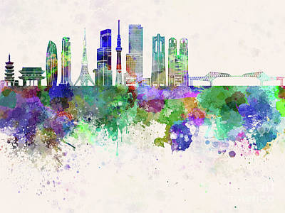 Tokyo Skyline Wall Art - Painting - Tokyo V3 Skyline In Watercolor Background by Pablo Romero
