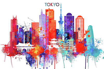 Skyline Painting - Tokyo Watercolor by Dim Dom