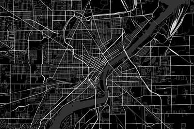 Bringing The Outdoors In - Toldeo Ohio USA Dark Map by Jurq Studio