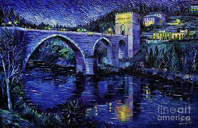 Painting - Toledo Bridge By Night by Mona Edulesco