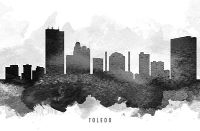 Down Town Painting - Toledo Cityscape 11 by Aged Pixel