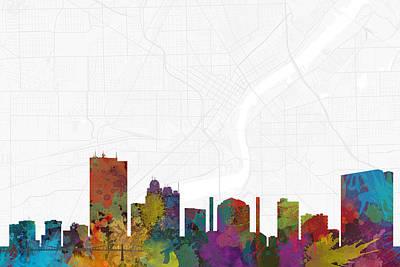 Toledo Digital Art - Toledo Cityscape And Streetmap Skyline by Jurq Studio