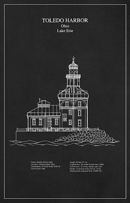 Architecture Digital Art - Toledo Harbor Lighthouse - Ohio - Blueprint Drawing by Jose Elias - Sofia Pereira