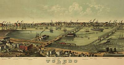 1876 Mixed Media - Toledo, Ohio 1876 by Mountain Dreams