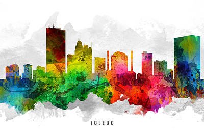 Towns Digital Art - Toledo Ohio Cityscape 12 by Aged Pixel