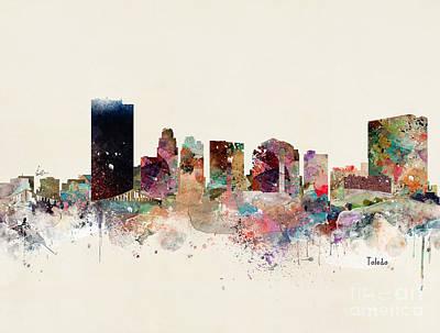 Painting - Toledo Ohio Skyline by Bleu Bri