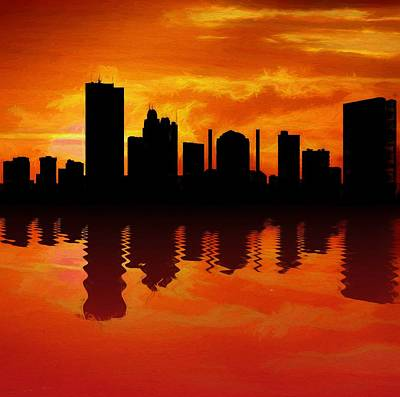 Ohio Painting - Toledo Skyline Sunset Reflection by Dan Sproul