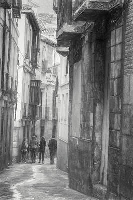 Urban Photograph - Toledo Spain Bw Sketch by Joan Carroll