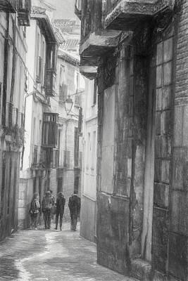 Photograph - Toledo Spain Bw Sketch by Joan Carroll
