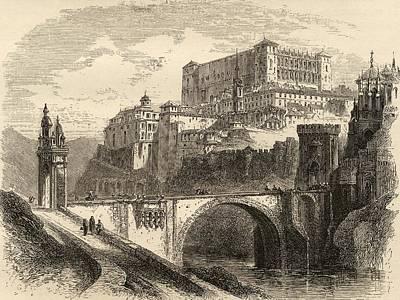 Manning Drawing - Toledo Spain From The Book Spanish by Vintage Design Pics