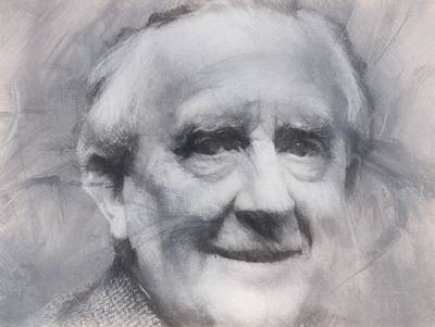 Author Mixed Media - Tolkien by Dan Sproul